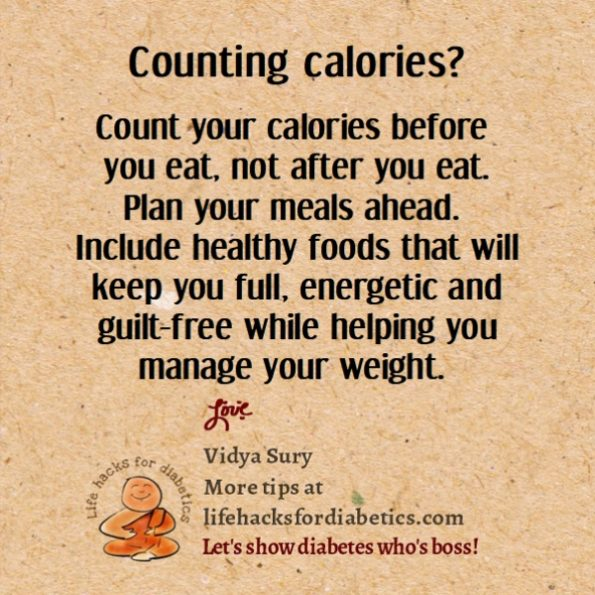 Counting calories. Life hacks for diabetics