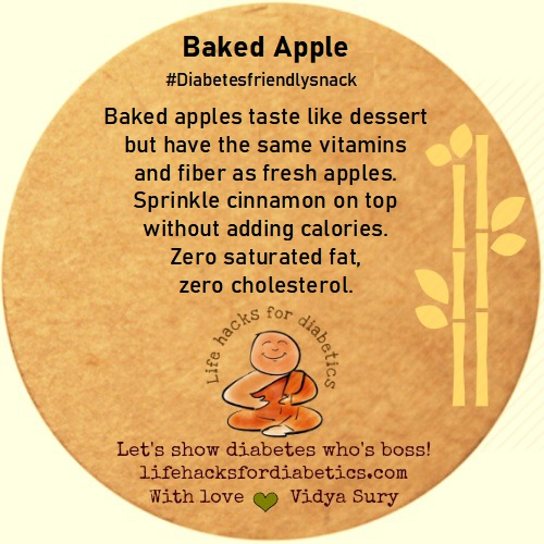 Baked apple diabetes friendly snack