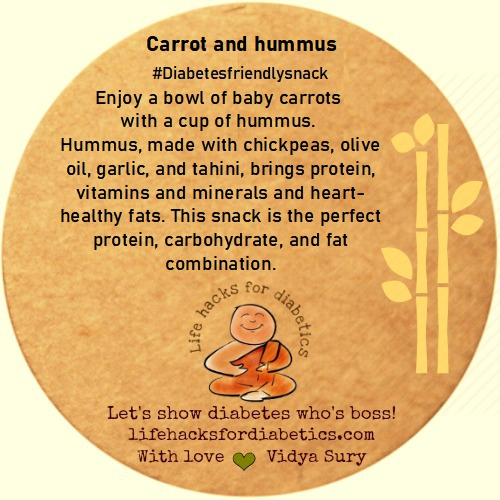 Carrot and hummus Life hacks for diabetics